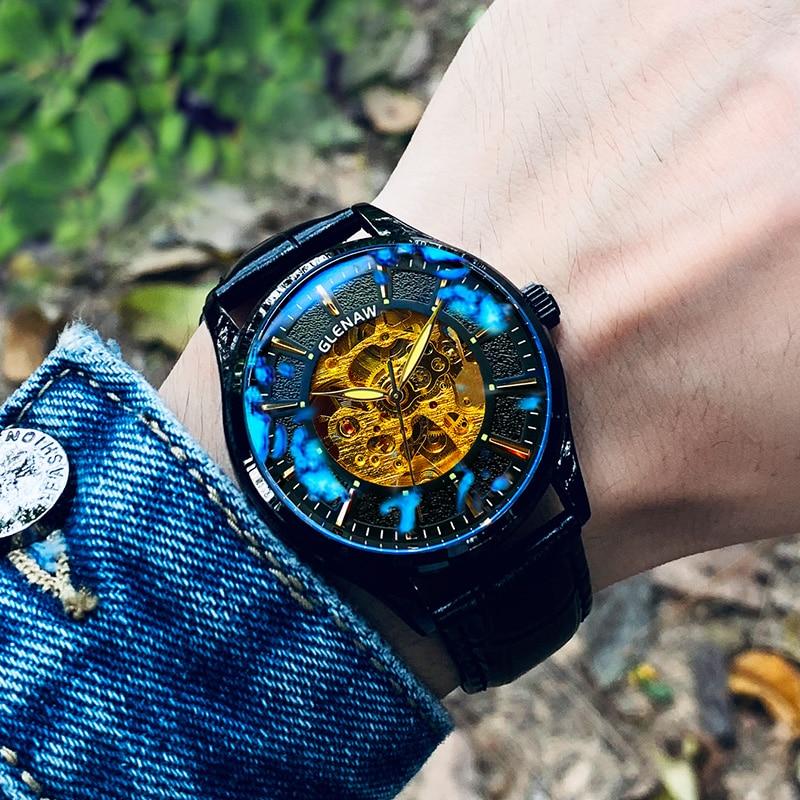 GLENAW Clock Mechanical-Watches Men Automatic Watch Top Brand Luxury Wrist Watch 30m Waterproof Male