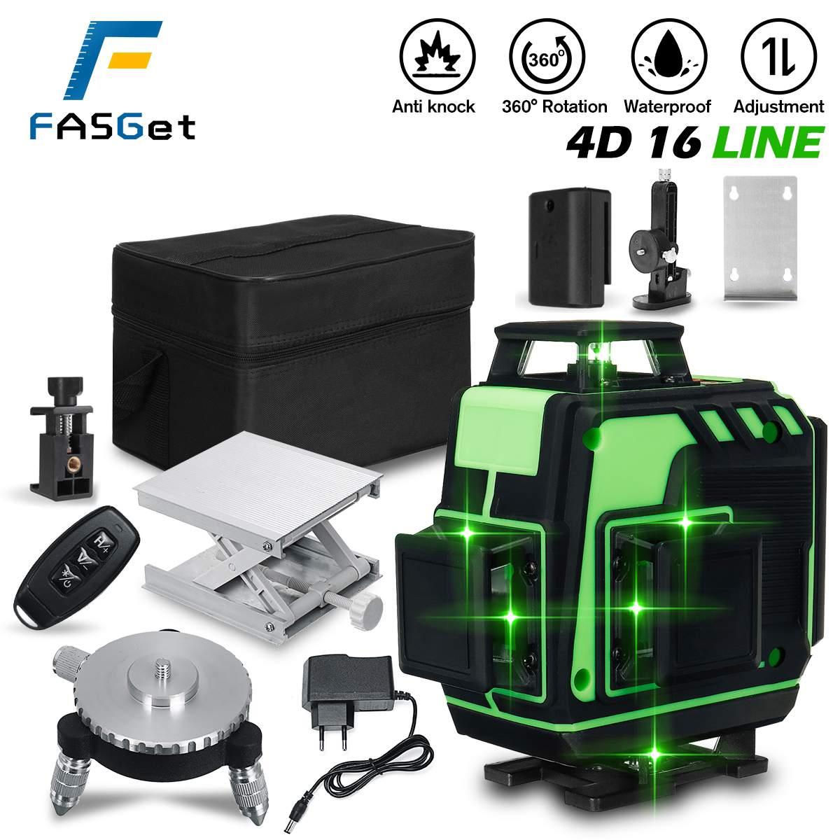 FASGet 4D 16 خطوط ليزر مستوى الخط الأخضر SelfLeveling 360 أفقي ورأسي سوبر ليزر قوي مستوى شعاع الليزر المستوى