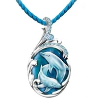 summer new products dolphin crystal glass women necklace pendant gorgeous light luxury women necklace pendant birthday holiday