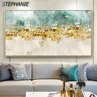 minimalism art abstract golden coins tree posters prints blue green picutres nordic fashion decoration wall art canvas painting