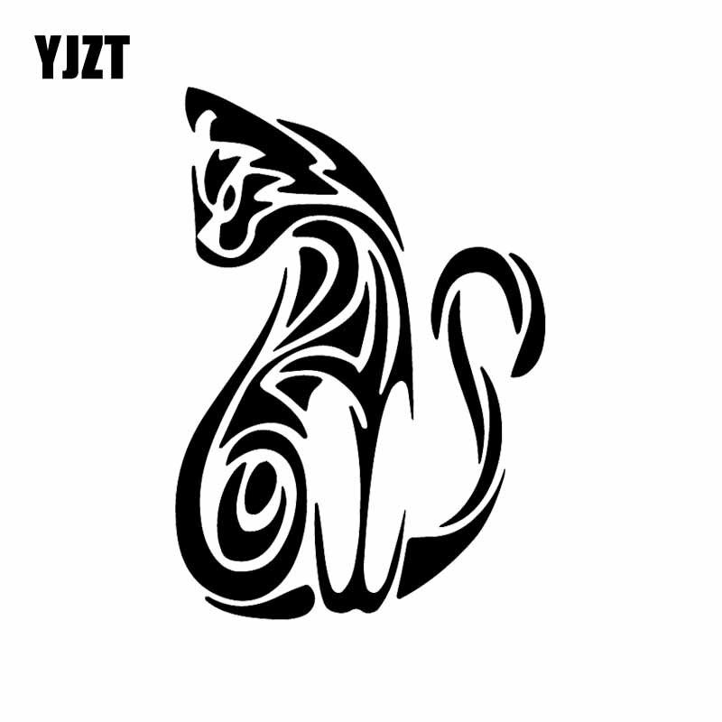 YJZT 10.9X15.7CM Tribal do Gatinho do Gato Kitty Car Truck Janela Vinyl Decal Adesivo de Carro Gráfico Preto/Prata c24-1660