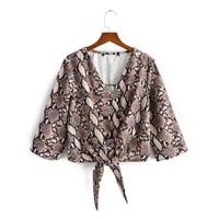 2021summer new v neck hem knotted serpenzy print seven sleeve womens shirt
