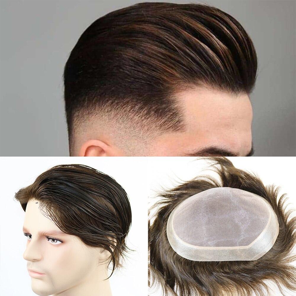 الشعر استبدال للرجال أحادية الدانتيل أعلى الرجال الشعر قطع استبدال نظام أسود اللون الإنسان الشعر Men'Wig