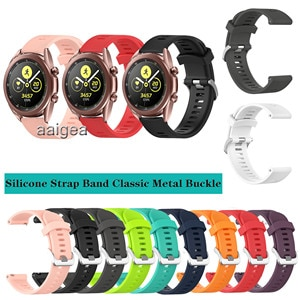 20mm Silicone Watch Band Classic Metal buckle Strap for Samsung Galaxy Watch3 41mm for Active 2 /Watch 42mm Replacement strap