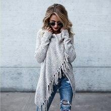 Poncho hiver à manches longues femmes Cardigan laine décontracté gland surdimensionné Cardigan femme châle ourlet frange dames chandail vestes