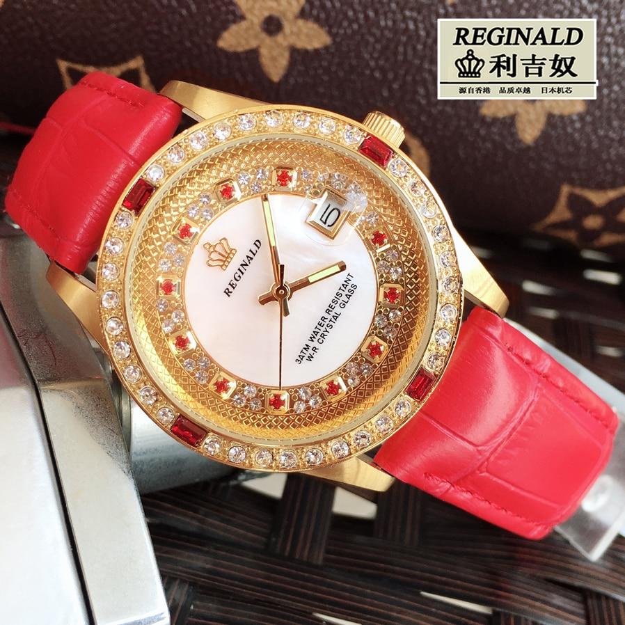 2019 Watches For Ladies Big Dial 36mm Red Leather Luminous  Fashion Quartz Rhinestone Watch Gold Full-jewelry Luxury Wristwatch