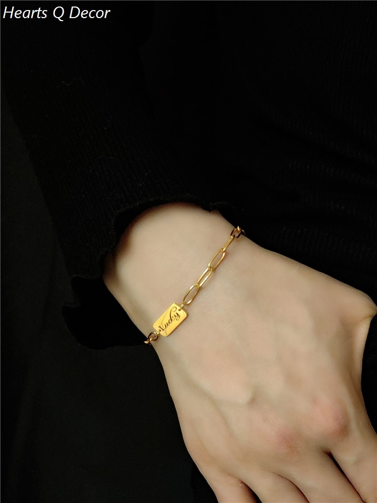 Glam Titanium Lucky Bar cadenas pulseras 361L Acero inoxidable joyería mujeres vestido Chic dulce bohemia de moda OL simplemente