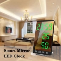 New Mirror LED Alarm Clock LED Time Temperature Humidity Display USB Output Port Table Clock Touch Control Electronic Smart Home