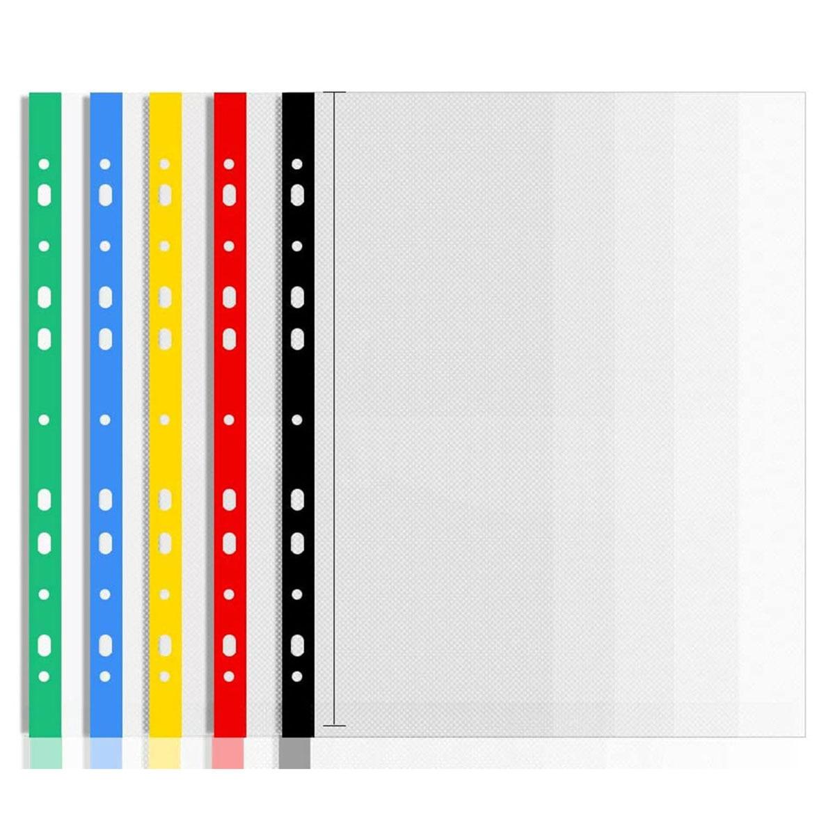25 шт., прозрачные пробивные карманы из стекла A4, 100% переработанные цветные прозрачные карманы для открывания сверху