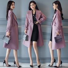 2021 New Fashion Spring Autumn Long Trench Coat Women Turn-down Collar Slim Windbreaker Plus Size Br