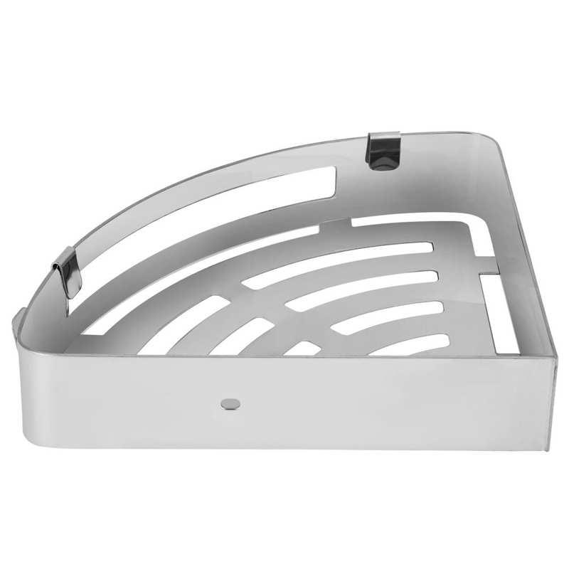 رف زاوية مثلث مجوف من الفولاذ المقاوم للصدأ ، لتخزين الشامبو ، ملحقات الحمام