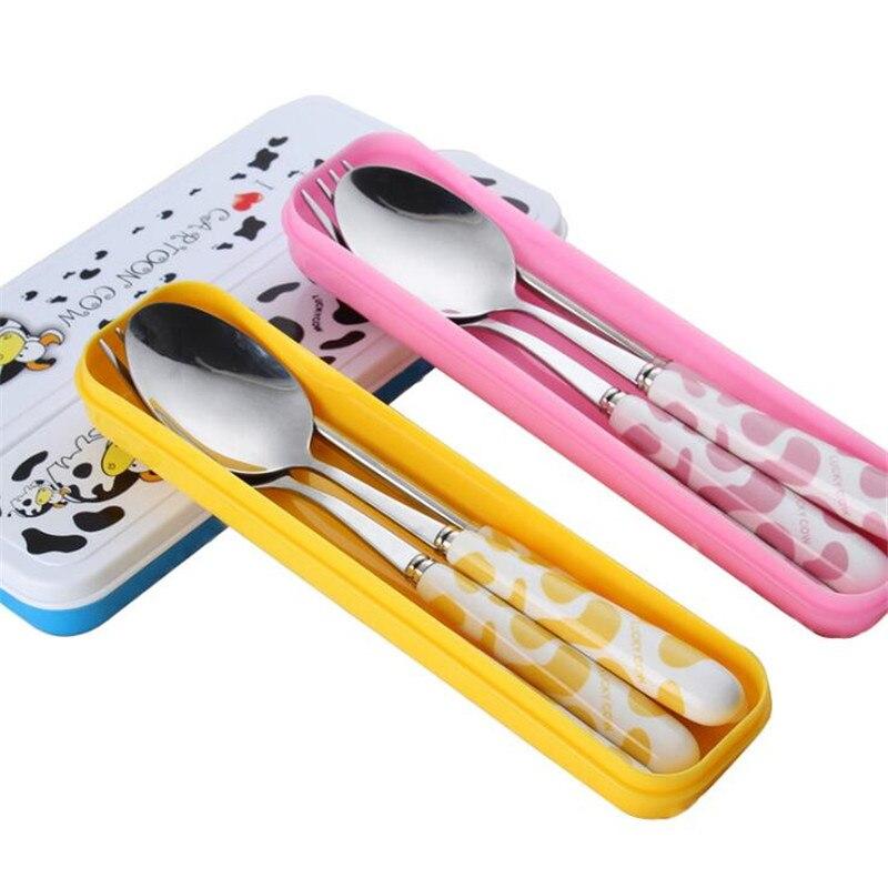 Bebé niños tenedor bonito juego de vajilla cuchara de dibujos animados mango de cerámica Acero inoxidable niños palillos tenedor cubiertos vajilla portátil