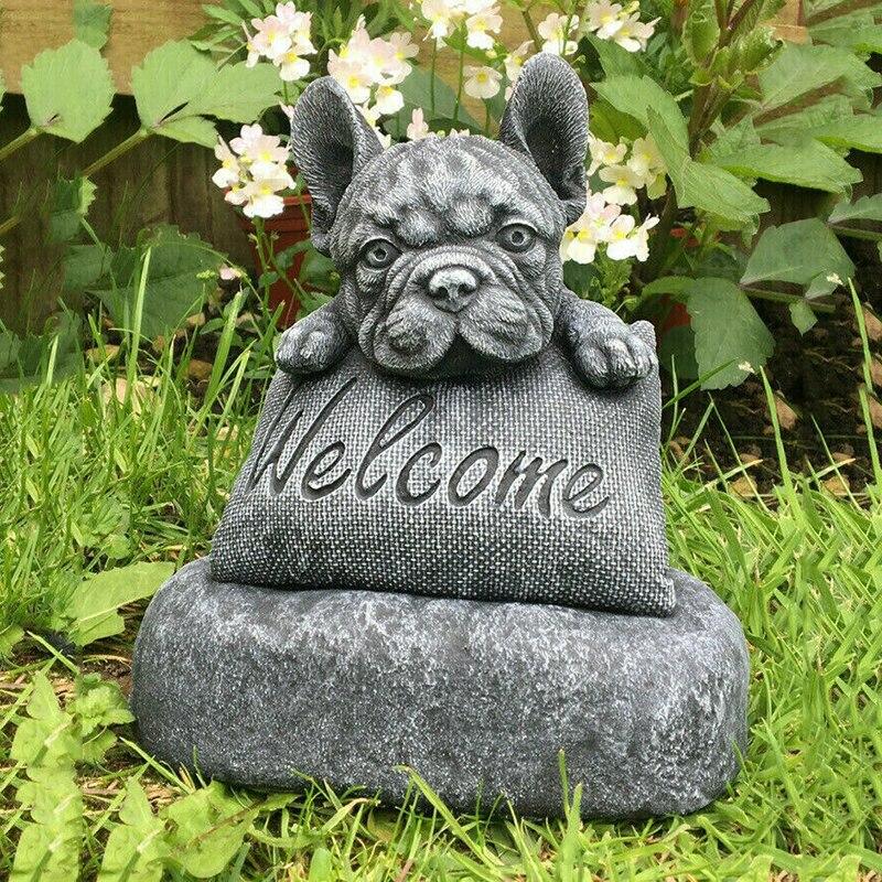 الفرنسية-بولدوغ تمثال حديقة الديكور علامة ترحيب زخرفة الراتنج الحرفية في الداخل في الهواء الطلق النحت DO