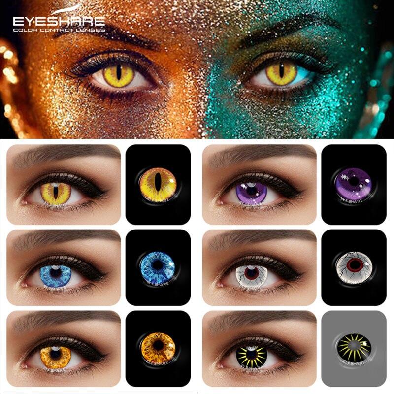 Цветные контактные линзы EYESHARE для глаз 2 шт. Аниме Косплей цветные линзы ed синие красные Хэллоуин контактные линзы Красота Макияж
