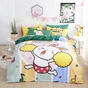 Cute Snowman Singing Bedding Sets Single King Soft Duvet Cover Pillowcase Christmas Cartoon Bed Set Kids Gift 100% Cotton