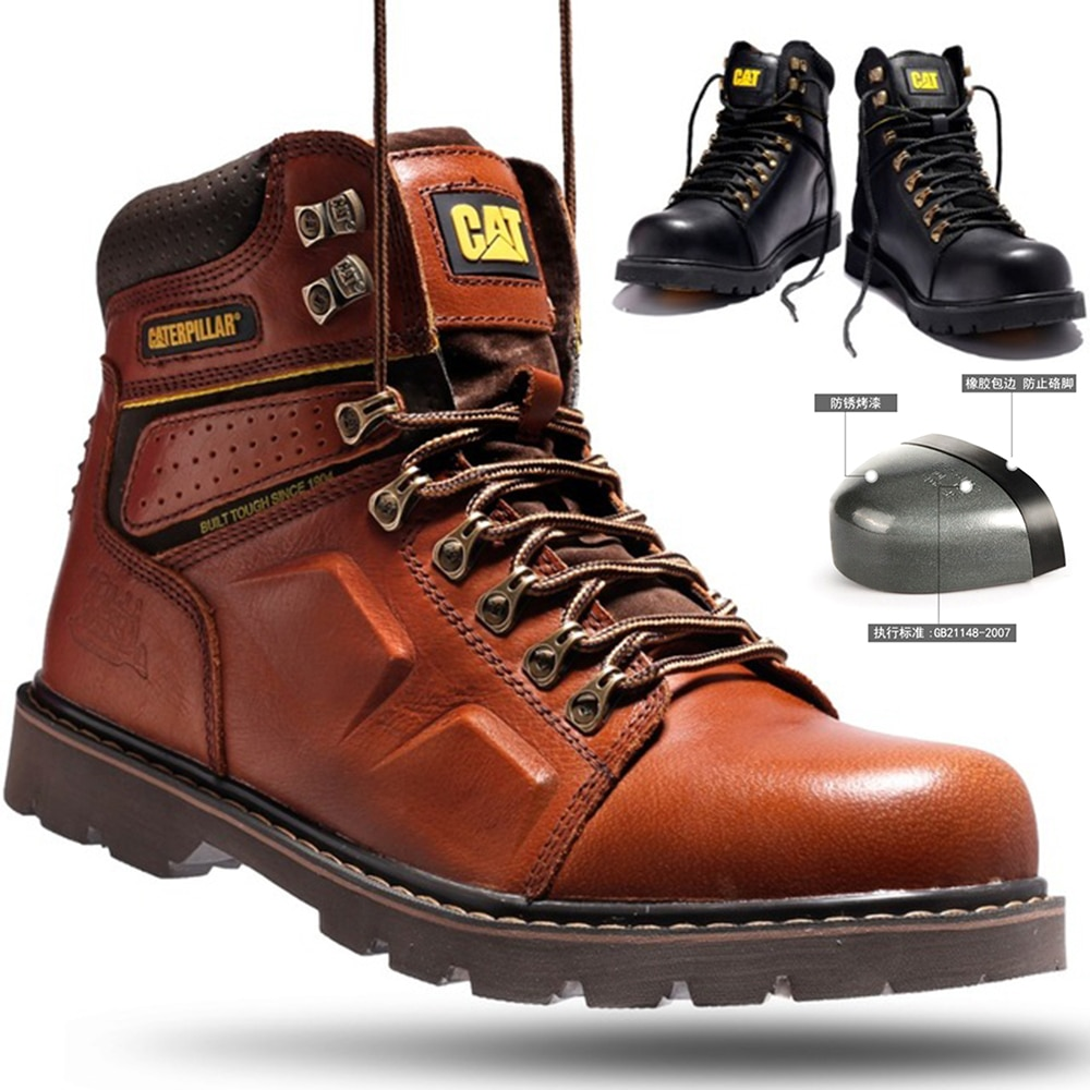 New autumn and winter top layer cowhide high-end brand Martin boots, high-top anti-smash and anti-puncture tooling boots