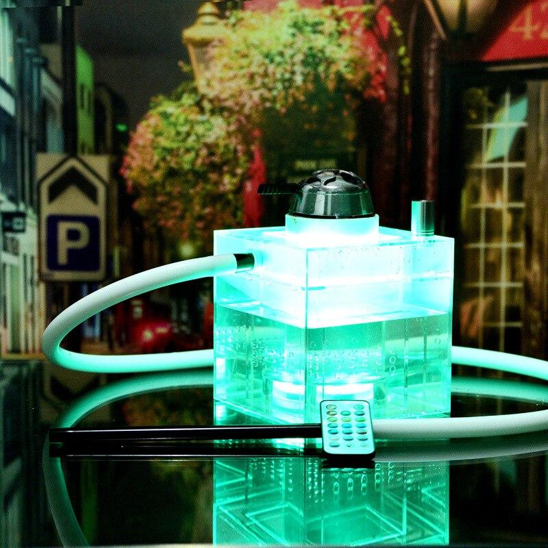 High Quality Hookah pot 31X29X21CM Shisha accessories with 2 Hose Glass Base Flask Glass Smoking Hookah Set Water Hose Led Light enlarge