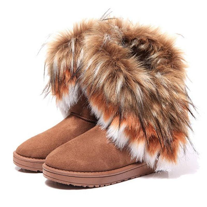 Frauen Pelz Stiefel Damen Winter Warme Stiefeletten Für Frauen Schnee Schuhe Stil Runde-toe Slip Auf Weibliche Flock schnee Boot Damen Schuhe