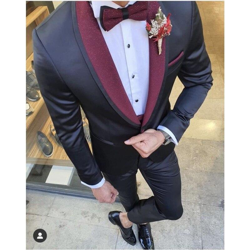 وصل حديثًا بدلة رسمية لرفقاء العريس بزر واحد على شكل شال (جاكيت + بنطلون + ربطة عنق) A20