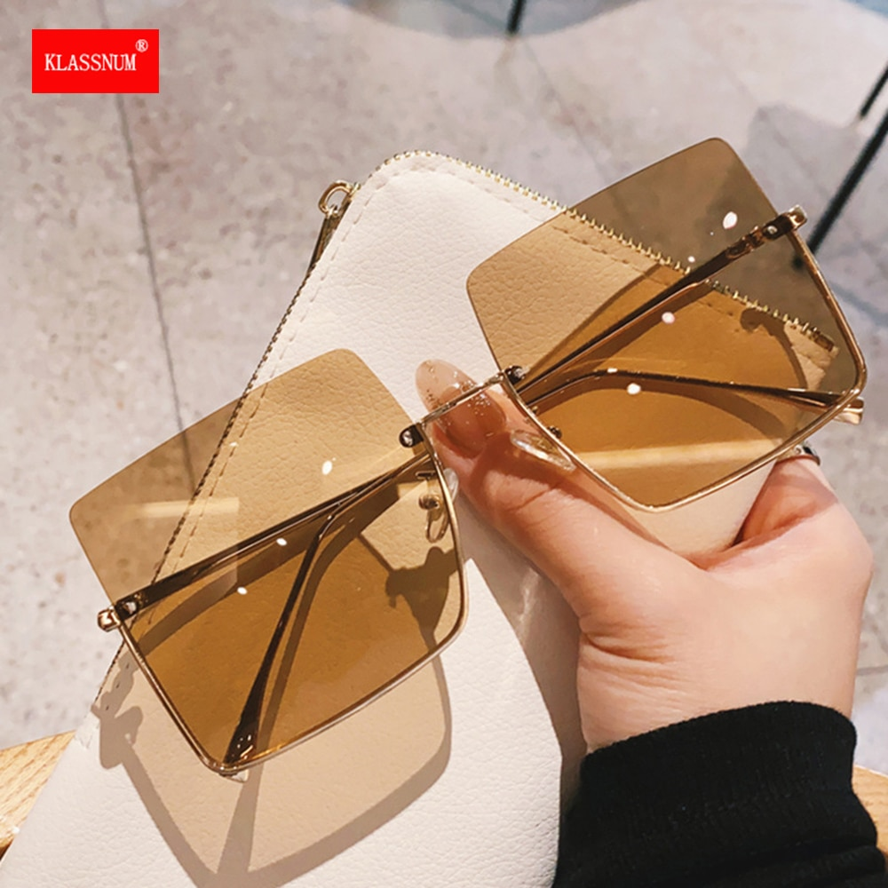 2021 Metal Semi-rimless Sunglasses Women Retro Oversized Square Sun Glasses Men Fashion Half Metal F