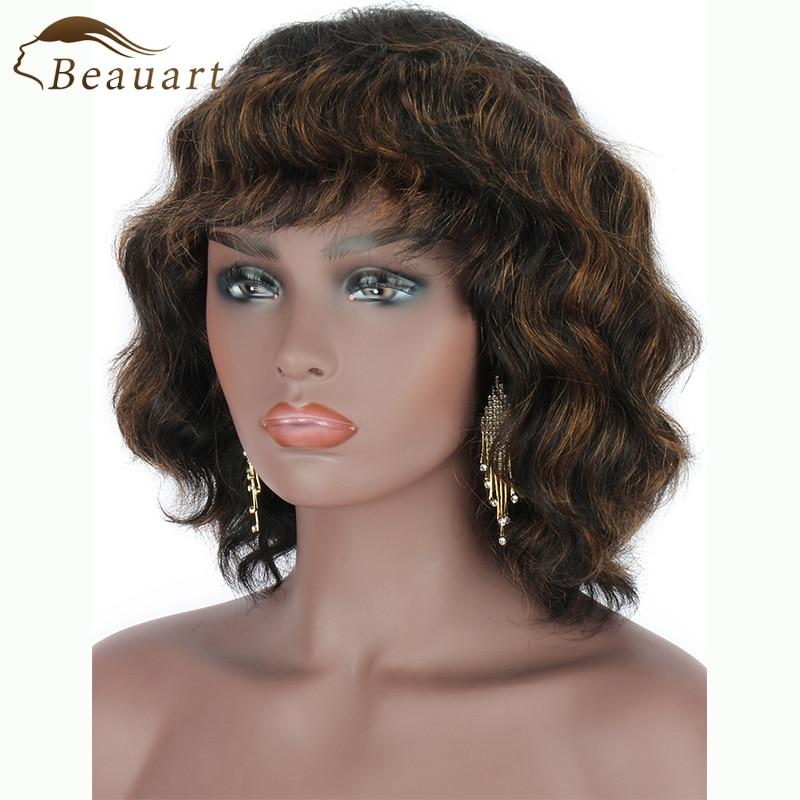 Beauart 100% Human Hair Bob Cut None Lace Front Wig With Hair Bangs 13