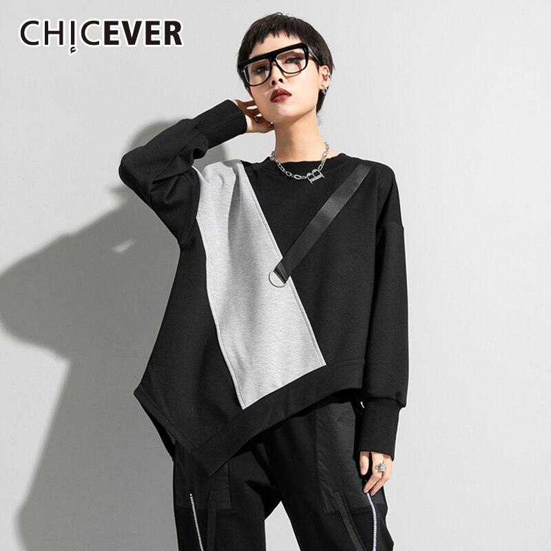 CHICEVER المرقعة غير المتكافئة تنحنح Colorblock ملابس الصيف للنساء الياقة المستديرة طويلة الأكمام فضفاضة المتضخم تي شيرت الإناث