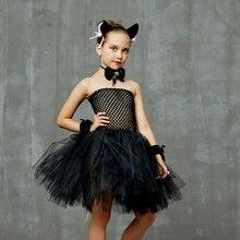 الفتيات السود القط فستان مُصمم حسب الطلب حفلة تنكرية ثوب الحيوان فساتين الطفل لجميع القديسين ازياء مخيف فوتوسيت الملابس رداء Vestidos