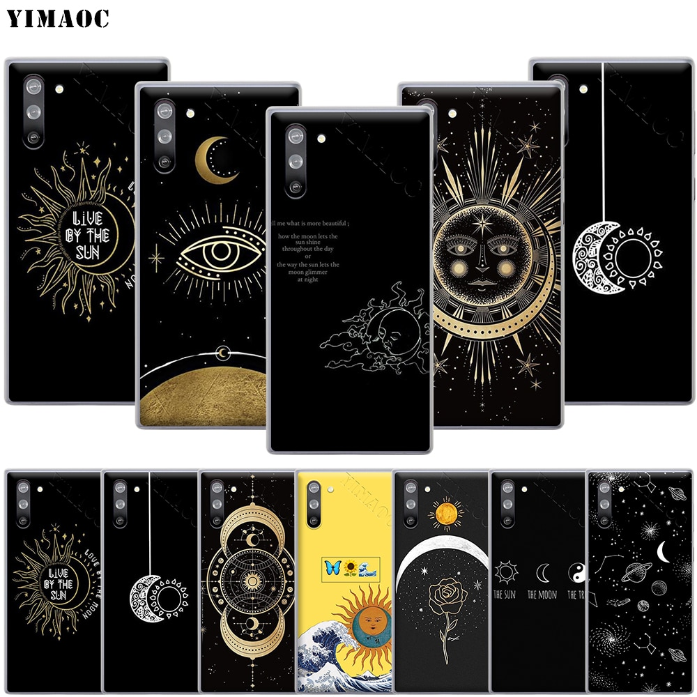 Yimaoc capa estética lua e sol, para samsung galaxy s10 s9 s8 s7 plus a70 a60 a50 a40 a30 a20 a10 a50s a30s a20s
