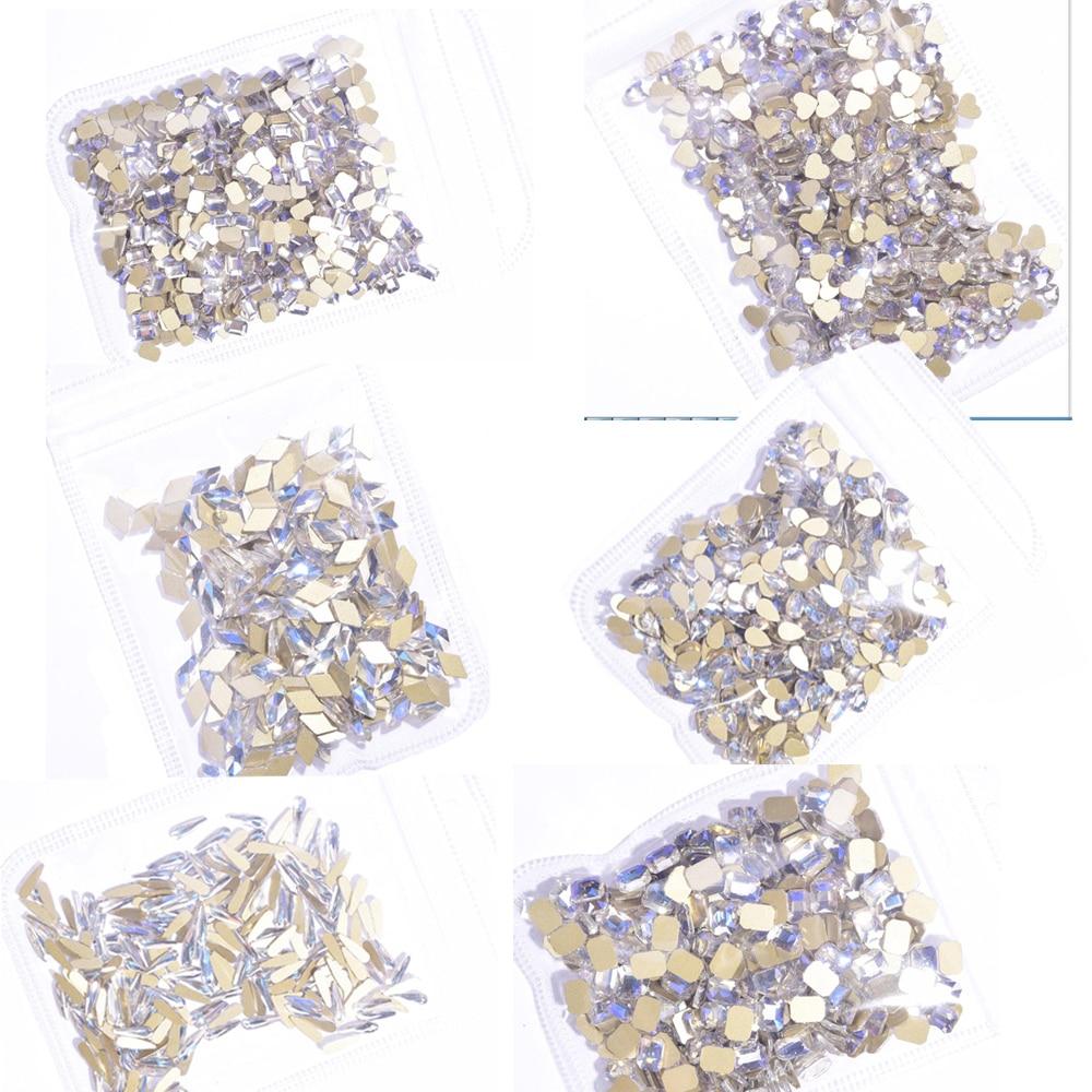 Большие прозрачные и прозрачные стразы (без горячей фиксации), 20/50X, с плоской задней поверхностью, для ногтей, небеса, легкие Стразы (6 алмазных форм)