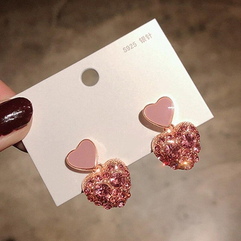 Серьги-гвоздики розовые гипоаллергенные в форме сердца