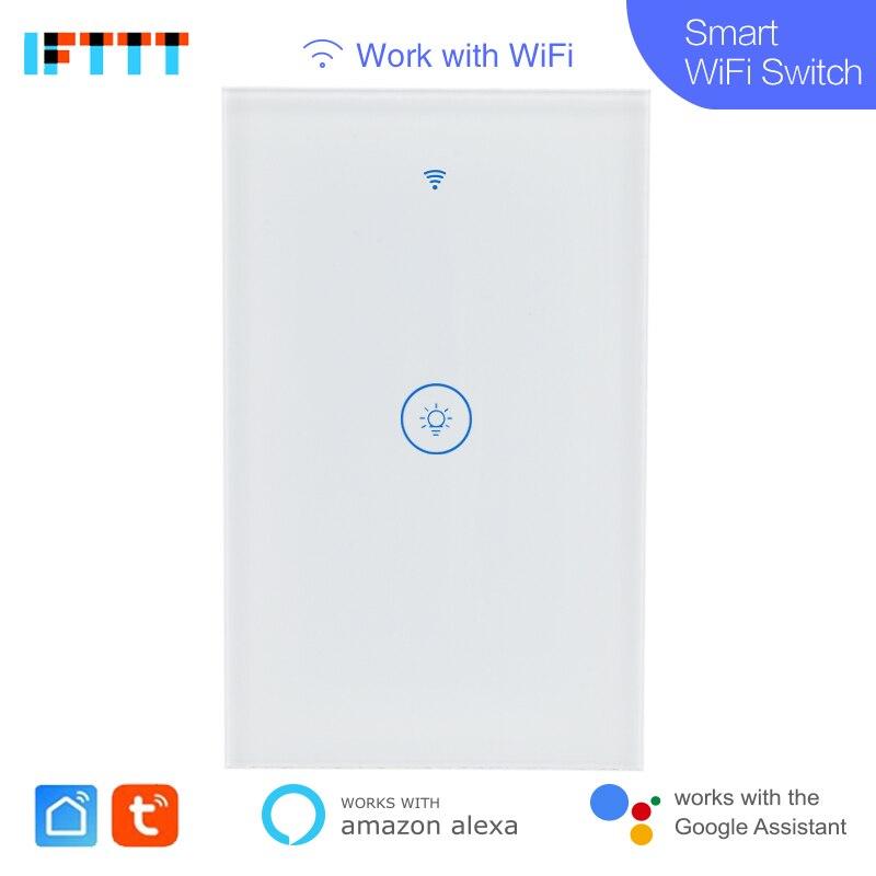 20pcs Wifi Smart US standard 1 GANG Wall Switch Tuya Smart Life App Wireless Remote Control Works With Alexa Google Home Mini