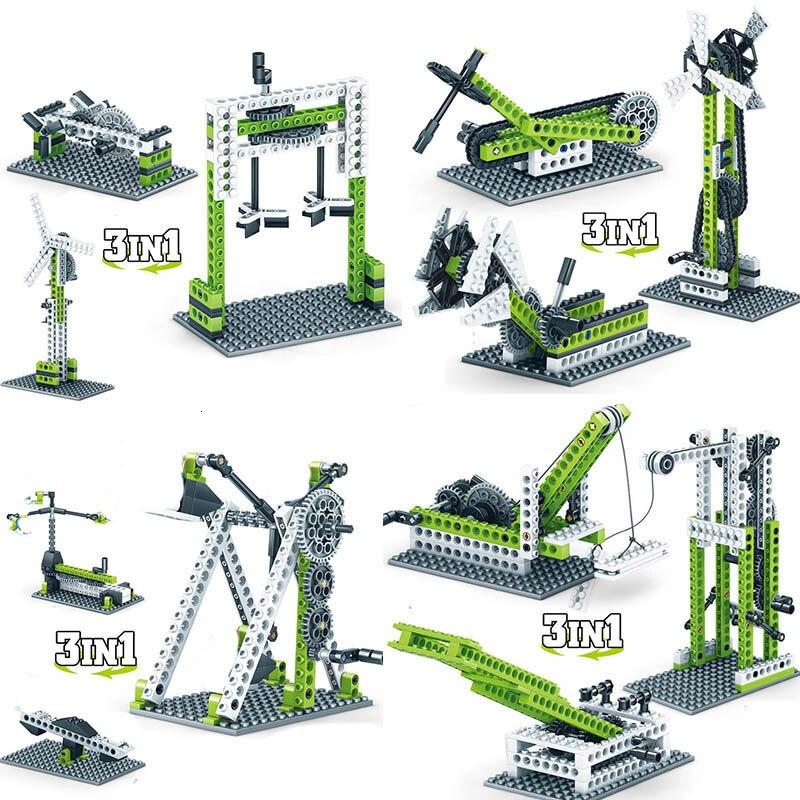Bloques de construcción de modelo técnico mecánico, equipo de ingeniería de ladrillos, bloques de construcción educativos de ciencia, juguetes de vástago para niños