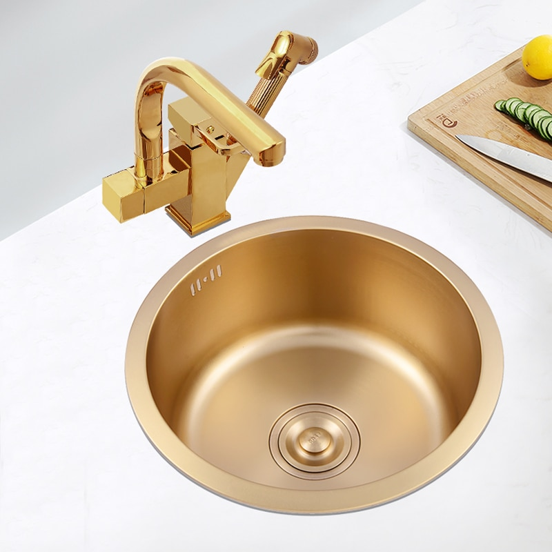 sink or swim pубашка Brushed gold kitchen basin round single bowl stainless steel kitchen sink cozinha gold sink above counter or undermount