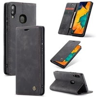 case for samsung galaxy a40s m30 premium leather wallet case with card slots kickstand magnetic protective flip phone shell