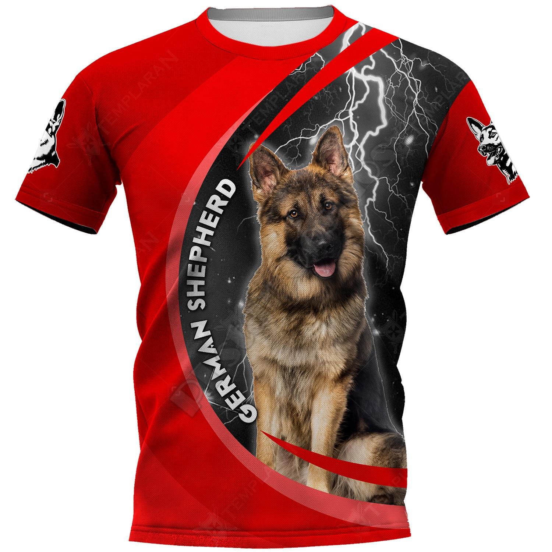 Футболка с 3D-принтом немецкой овчарки, женские и мужские летние повседневные футболки, футболки с коротким рукавом, Прямая поставка