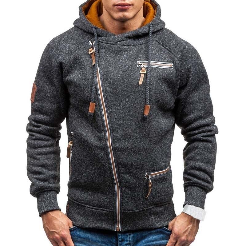 Толстовка мужская с капюшоном, повседневная однотонная кофта с длинным рукавом, Приталенный свитшот на молнии, уличная одежда, весна 2021