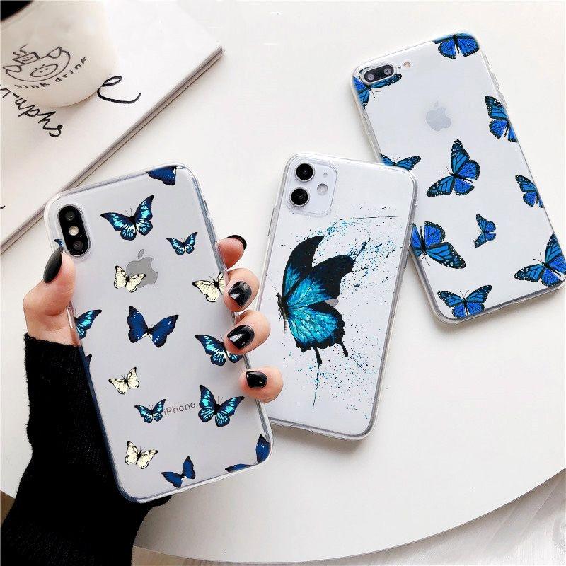 Для iphone 6s Plus xs max синяя бабочка эстетичный Премиум чехол для телефона для iphone 7 8 Plus X XR 11 прозрачный чехол-бабочка