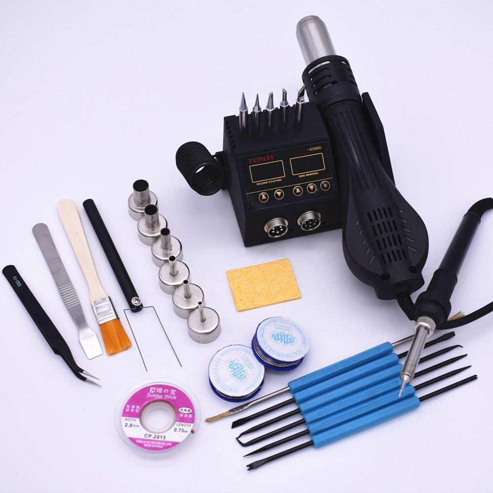 Паяльник 2 в 1 с поверхностным монтажом, станция для починки микросхем 8586D, для ремонта сотовых телефонов, печатных плат, микросхем