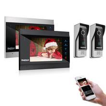 TMEZON-porte-téléphone 7 pouces   Sans fil/Wifi, IP intelligent, système dinterphone avec 2 moniteurs de Vision nocturne + 2 caméras à sonnette étanche à la pluie