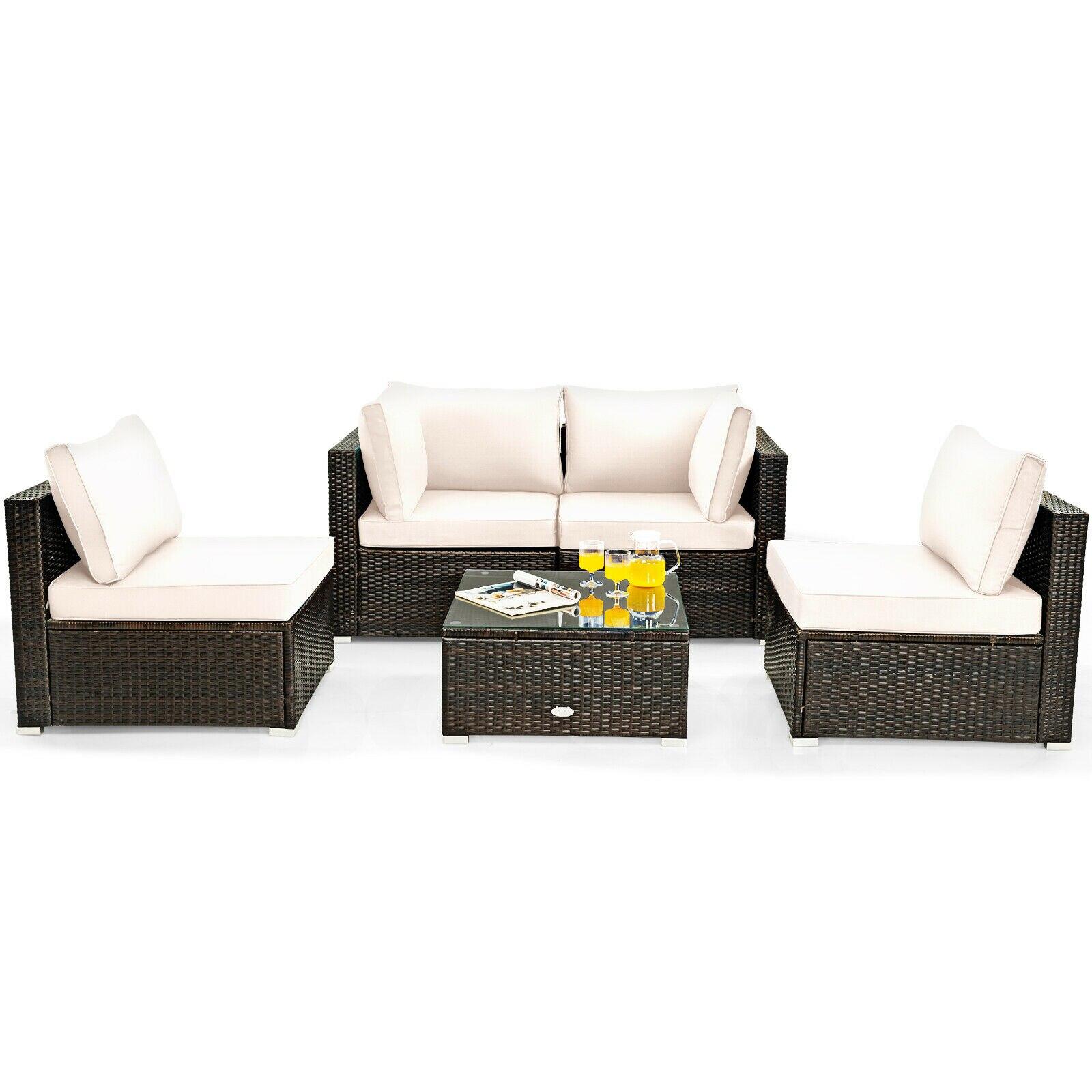5PCS Patio Rattan Furniture Set Cushioned Sofa Chair Coffee Table HW67243