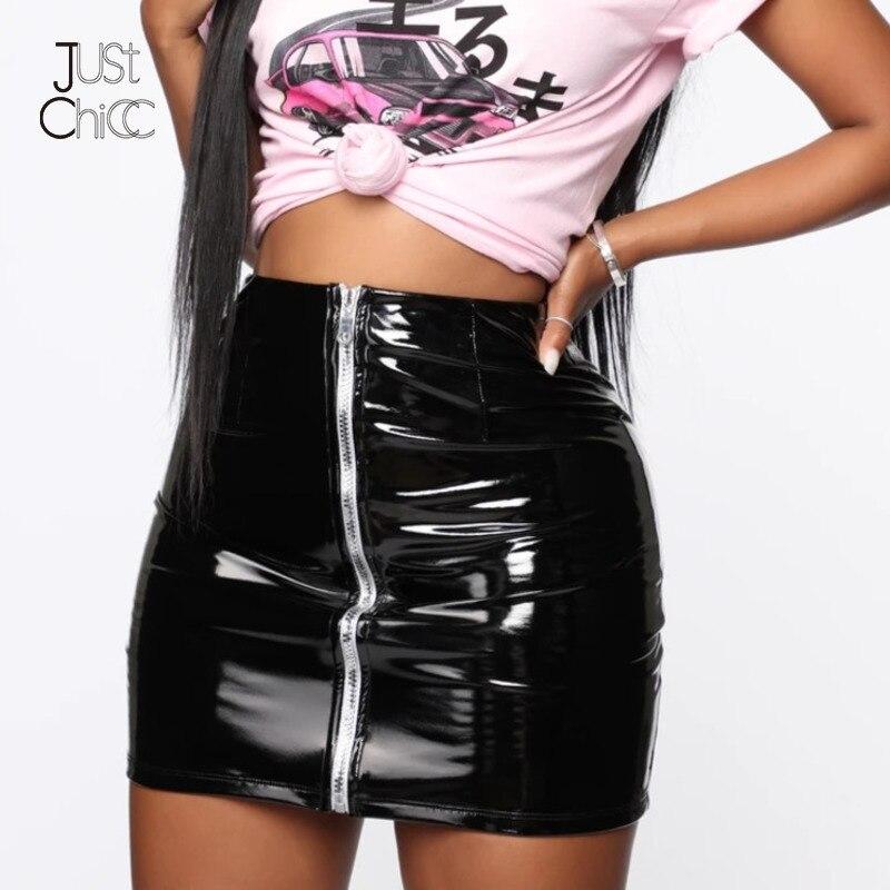 Justchicc saias de couro do plutônio da cintura alta mulheres sexy festa clube zip inverno preto mini saias lápis curto saia estiramento bodycon
