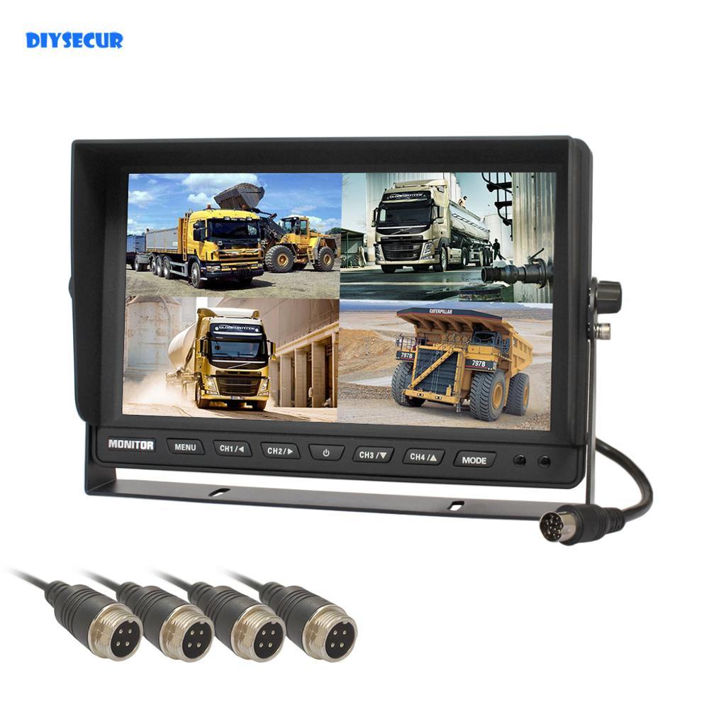 DIYSECUR 4CH 4PIN DC12V-24V 10 дюймов 4 Сплит Quad ЖК-экран дисплей заднего вида Автомобильный монитор для автомобиля Грузовик Автобус камера заднего вида