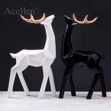 Nordic retro literary geometric deer ornament creative decoration statue sculpture resin home decor accessories modern