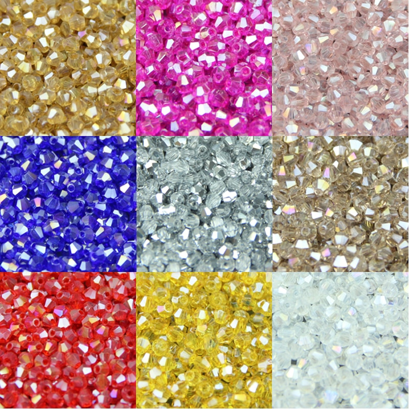 JHNBY 3mm 200pcs AAA Bicone Upscale Austrian crystals beads AB color plating Loose bead bracelet Jew