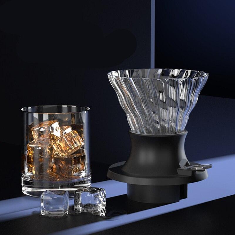 الغمر فنجان القهوة الزجاج V60 صب أكثر من صانع القهوة الخامس شكل فلتر تنقية القهوة مع دفع التبديل الأسود