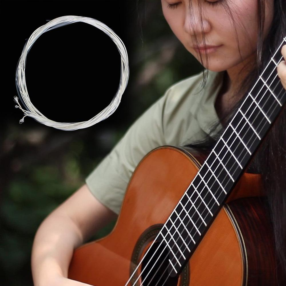 Nuevo 6 uds cuerdas de guitarra acústica de Nylon juego de cuerdas de plata para guitarra clásica 1M 1-6 E B G D A E pieza de bajo de guitarra