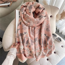 Luxury Cashmere Women Scarf Hijab Print Thick Warm Shawl Wrap Blanket Winter Pashmina Bufanda 2021 D