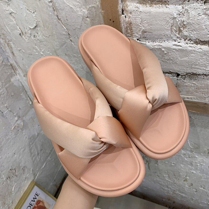 Summer Women Platform Slippers Designers Beach Cross-tied Flip Flops Pink Black Casual Shoes Woman Outside Open Toe Flat Slides