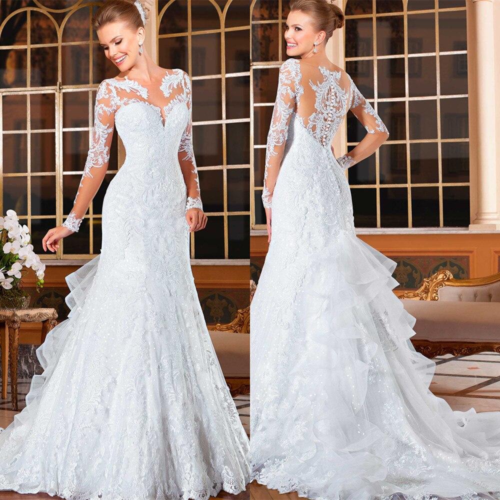 Cap Sleeve Luxury Sequin Lace Wedding Dress Plus size Mermaid Wedding Dresses Appliques Court Train Bridal Dress long sleeves