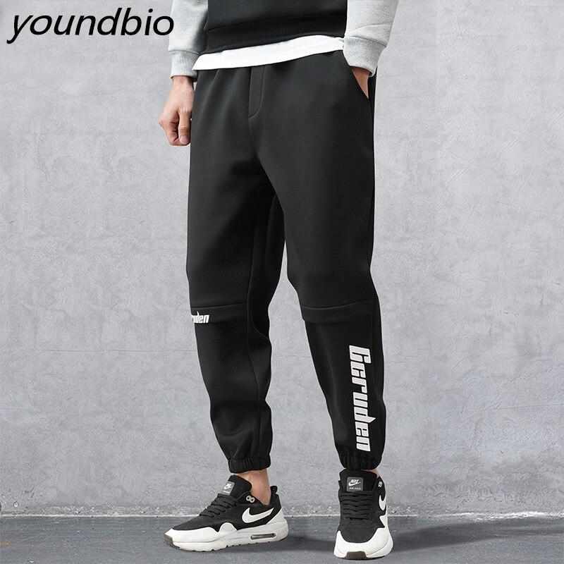 Мужские повседневные брюки, мужские однотонные брюки, модные хлопковые брюки с карманами и аппликацией, повседневные рабочие брюки, Стрейч...